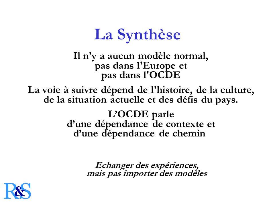 La Synthèse Il n y a aucun modèle normal, pas dans l Europe et pas dans l OCDE La voie à suivre dépend de l histoire, de la culture, de la situation actuelle et des défis du pays.