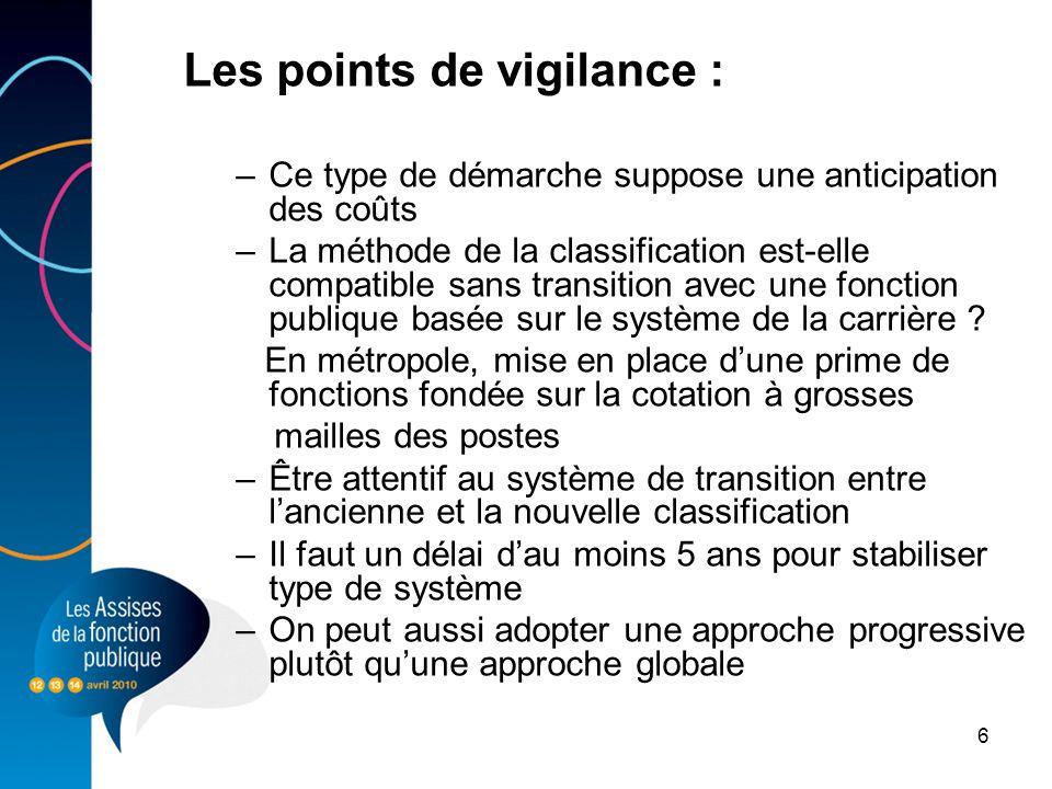 6 Les points de vigilance : –Ce type de démarche suppose une anticipation des coûts –La méthode de la classification est-elle compatible sans transiti