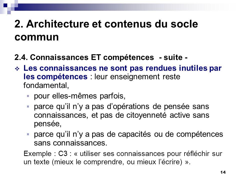 14 2. Architecture et contenus du socle commun 2.4.