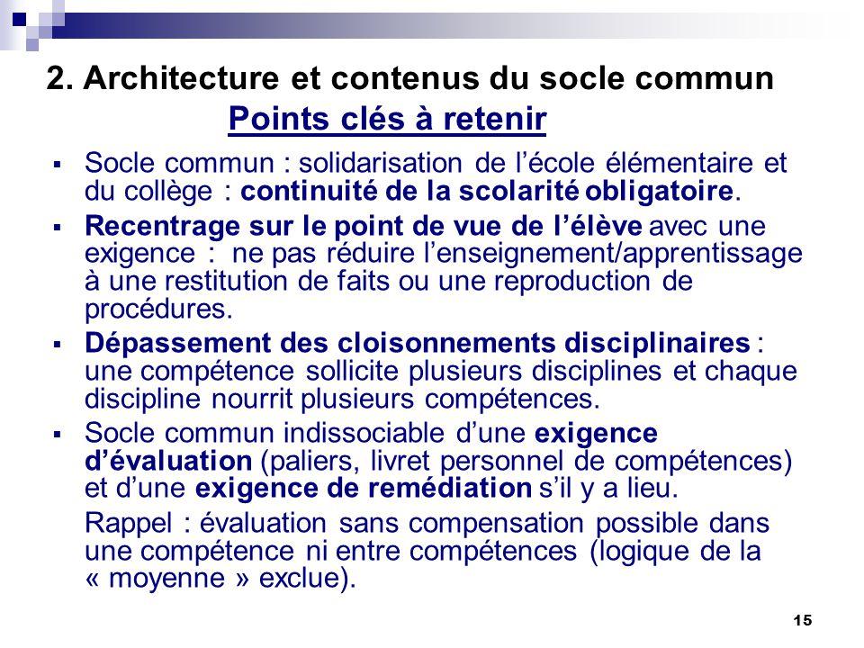 15 2. Architecture et contenus du socle commun Points clés à retenir Socle commun : solidarisation de lécole élémentaire et du collège : continuité de