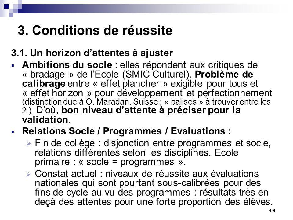 16 3. Conditions de réussite 3.1.