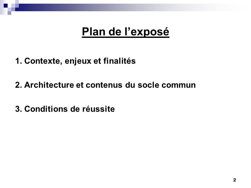 2 Plan de lexposé 1. Contexte, enjeux et finalités 2. Architecture et contenus du socle commun 3. Conditions de réussite