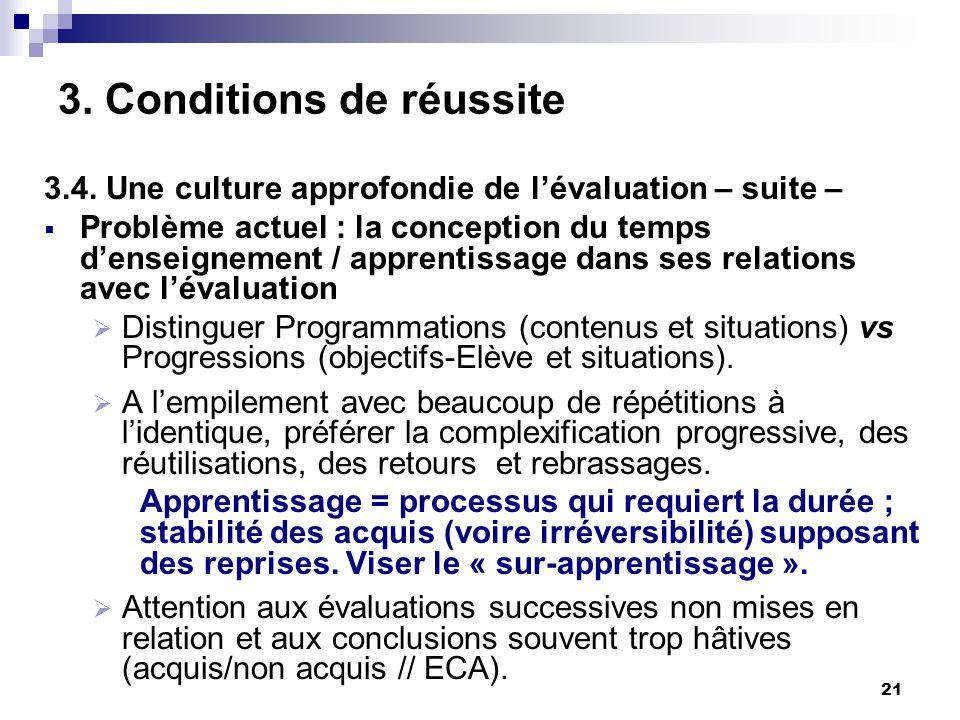 21 3. Conditions de réussite 3.4. Une culture approfondie de lévaluation – suite – Problème actuel : la conception du temps denseignement / apprentiss