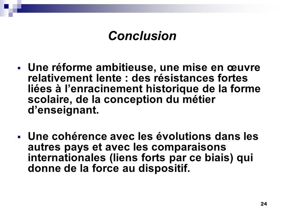 24 Conclusion Une réforme ambitieuse, une mise en œuvre relativement lente : des résistances fortes liées à lenracinement historique de la forme scolaire, de la conception du métier denseignant.