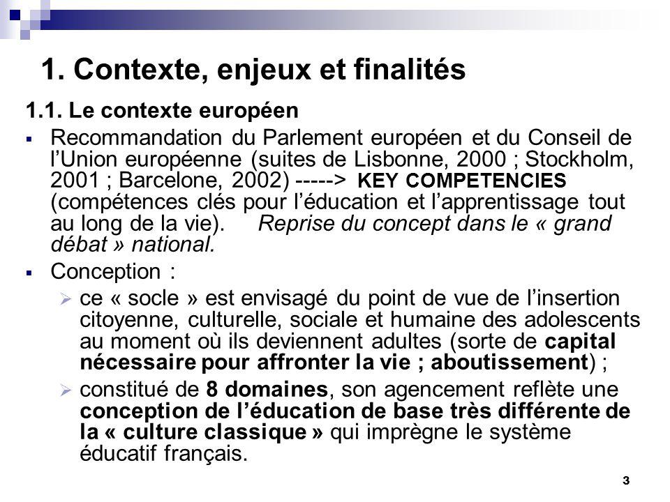 3 1. Contexte, enjeux et finalités 1.1. Le contexte européen Recommandation du Parlement européen et du Conseil de lUnion européenne (suites de Lisbon