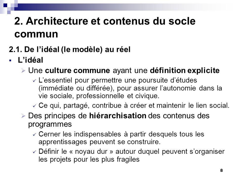 8 2. Architecture et contenus du socle commun 2.1. De lidéal (le modèle) au réel Lidéal Une culture commune ayant une définition explicite Lessentiel