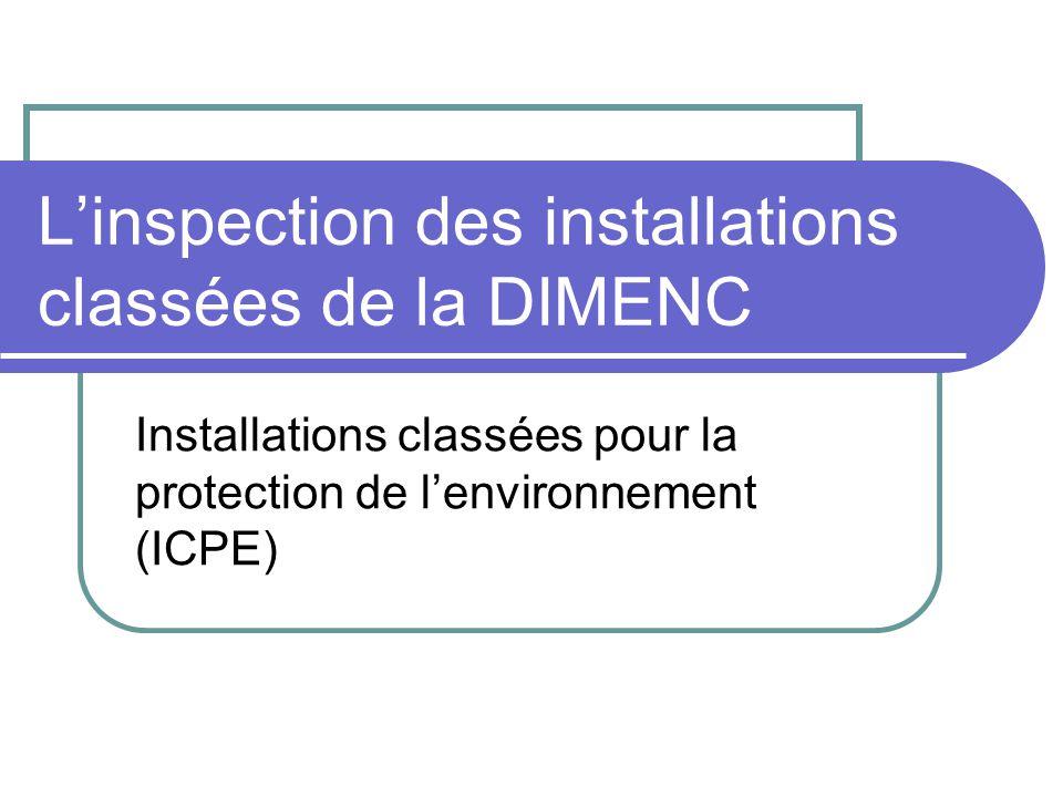 Linspection des installations classées de la DIMENC Installations classées pour la protection de lenvironnement (ICPE)