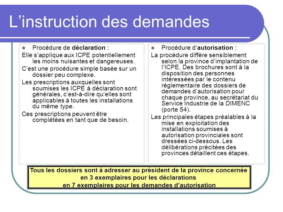 Linstruction des demandes Procédure de déclaration : Elle sapplique aux ICPE potentiellement les moins nuisantes et dangereuses.