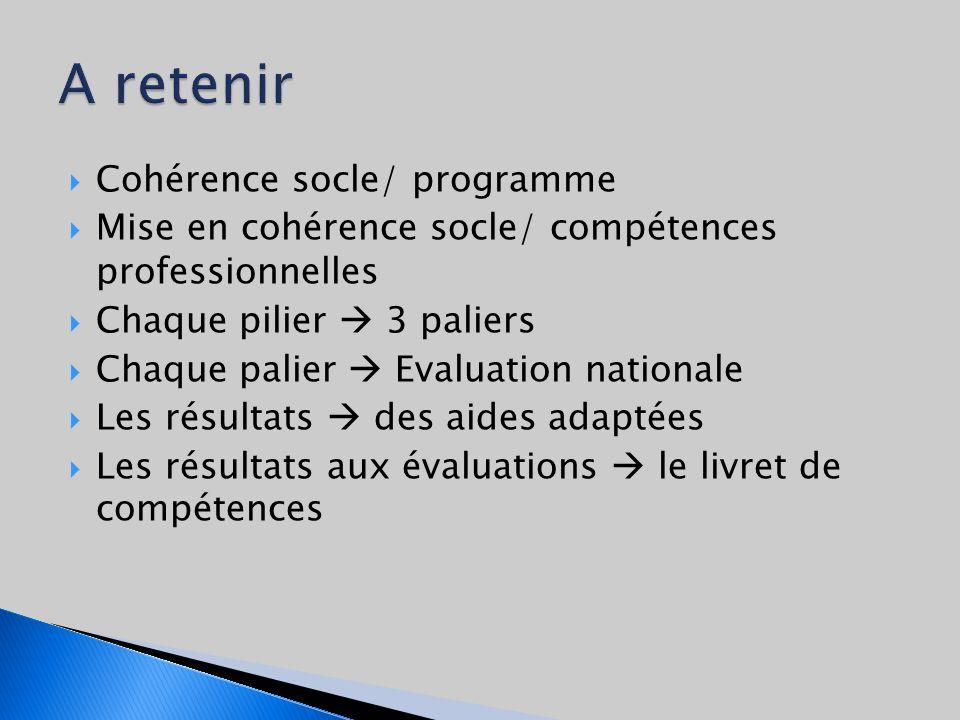 Cohérence socle/ programme Mise en cohérence socle/ compétences professionnelles Chaque pilier 3 paliers Chaque palier Evaluation nationale Les résultats des aides adaptées Les résultats aux évaluations le livret de compétences