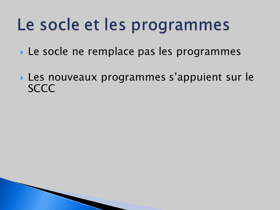 Le socle ne remplace pas les programmes Les nouveaux programmes sappuient sur le SCCC