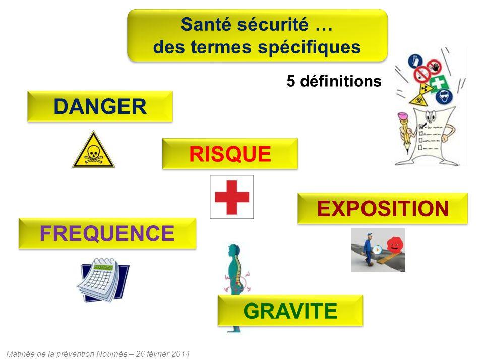 Matinée de la prévention Nouméa – 26 février 2014 RISQUE DANGER EXPOSITION 5 définitions GRAVITEFREQUENCE Santé sécurité … des termes spécifiques Santé sécurité … des termes spécifiques