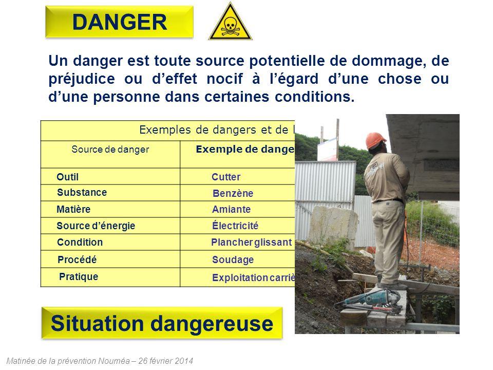 Matinée de la prévention Nouméa – 26 février 2014 Un danger est toute source potentielle de dommage, de préjudice ou deffet nocif à légard dune chose ou dune personne dans certaines conditions.