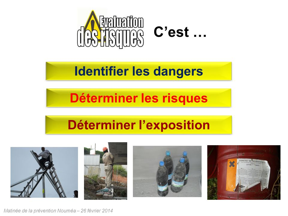 Matinée de la prévention Nouméa – 26 février 2014 Cest … Identifier les dangers Déterminer lexpositionDéterminer les risques