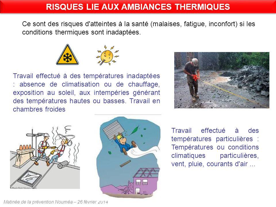 Matinée de la prévention Nouméa – 26 février 2014 Ce sont des risques d atteintes à la santé (malaises, fatigue, inconfort) si les conditions thermiques sont inadaptées.