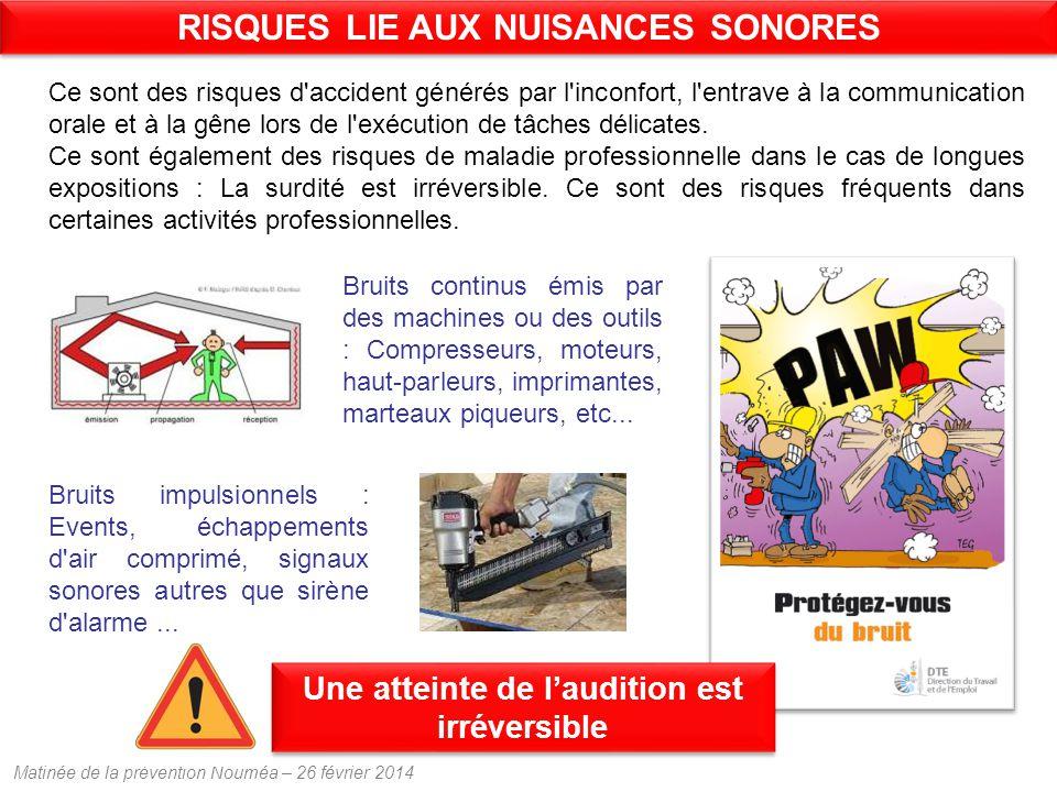 Matinée de la prévention Nouméa – 26 février 2014 Ce sont des risques d accident générés par l inconfort, l entrave à la communication orale et à la gêne lors de l exécution de tâches délicates.