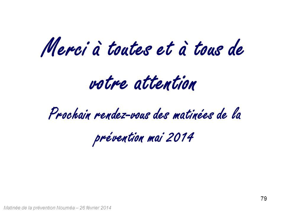Matinée de la prévention Nouméa – 26 février 2014 79 Prochain rendez-vous des matinées de la prévention mai 2014 Merci à toutes et à tous de votre attention