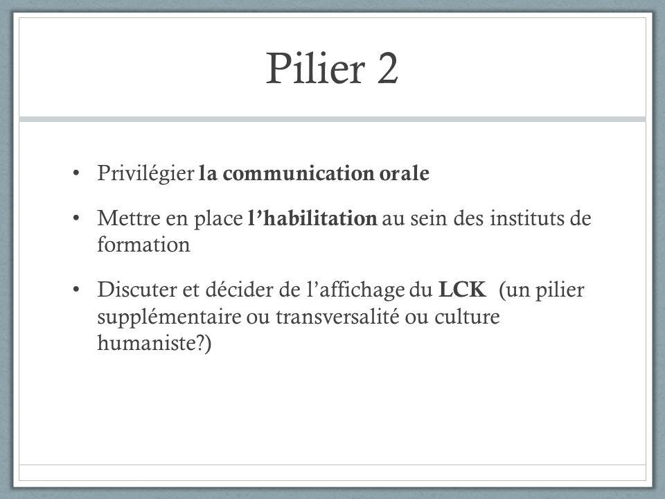 Pilier 2 Privilégier la communication orale Mettre en place lhabilitation au sein des instituts de formation Discuter et décider de laffichage du LCK (un pilier supplémentaire ou transversalité ou culture humaniste?)