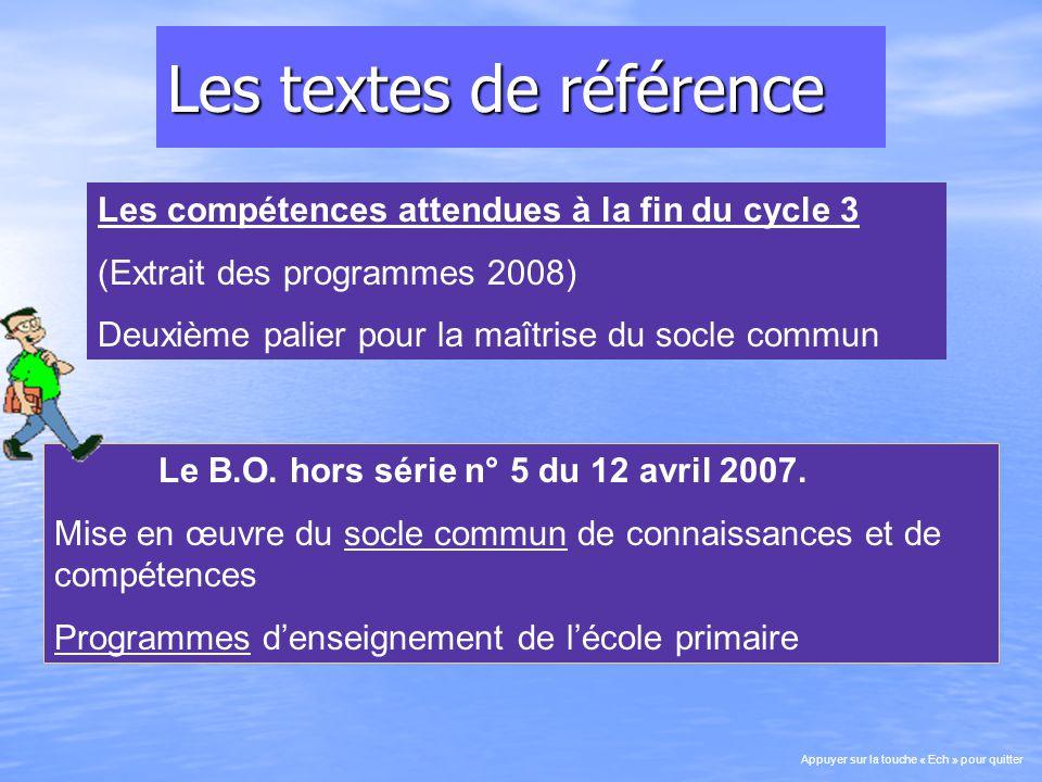 Les textes de référence Le B.O. hors série n° 5 du 12 avril 2007.