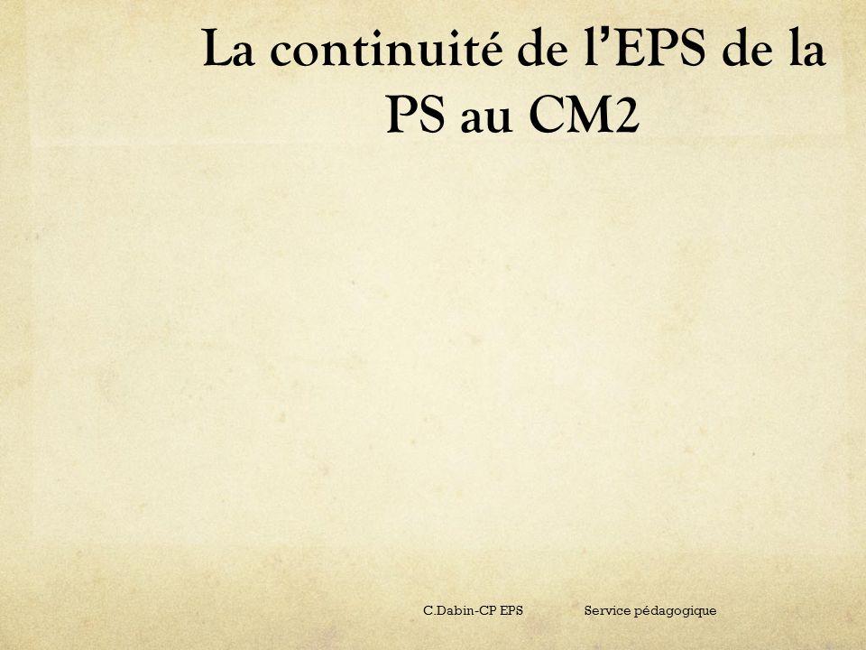 La continuité de l EPS de la PS au CM2 C.Dabin-CP EPS Service pédagogique