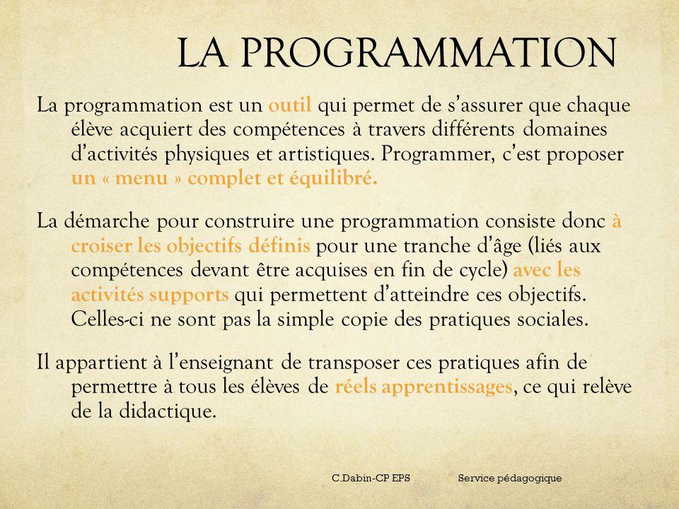 LA PROGRAMMATION La programmation est un outil qui permet de s assurer que chaque élève acquiert des compétences à travers différents domaines d activ