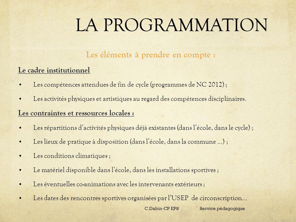 LA PROGRAMMATION Les éléments à prendre en compte : Le cadre institutionnel Les compétences attendues de fin de cycle (programmes de NC 2012) ; Les ac