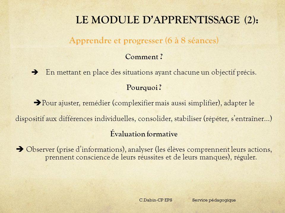 LE MODULE DAPPRENTISSAGE (2): Apprendre et progresser (6 à 8 séances) Comment ? En mettant en place des situations ayant chacune un objectif précis. P