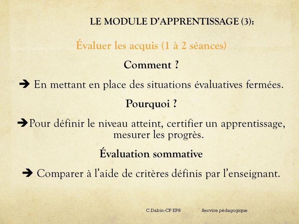 LE MODULE DAPPRENTISSAGE (3): Évaluer les acquis (1 à 2 séances) Comment ? En mettant en place des situations évaluatives fermées. Pourquoi ? Pour déf