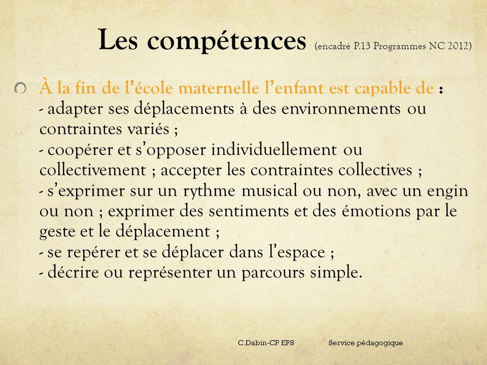 Les compétences (encadré P.13 Programmes NC 2012) À la fin de l école maternelle l enfant est capable de : - adapter ses déplacements à des environnem