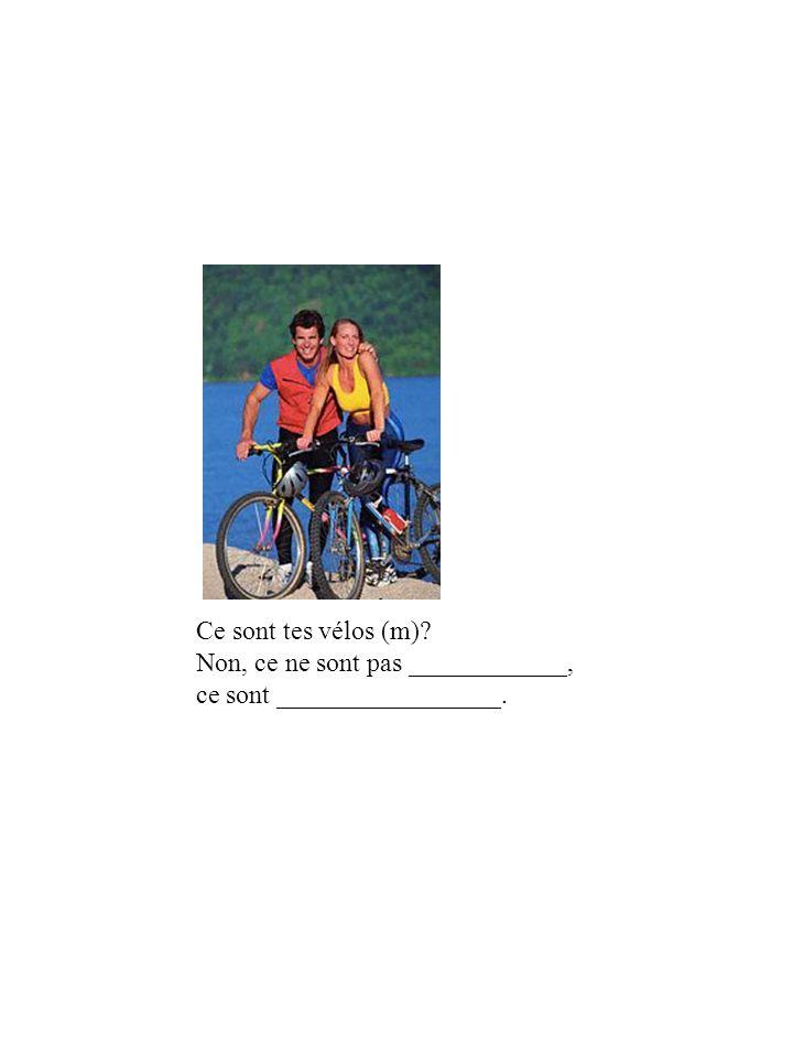 Ce sont tes vélos (m) Non, ce ne sont pas ____________, ce sont _________________.