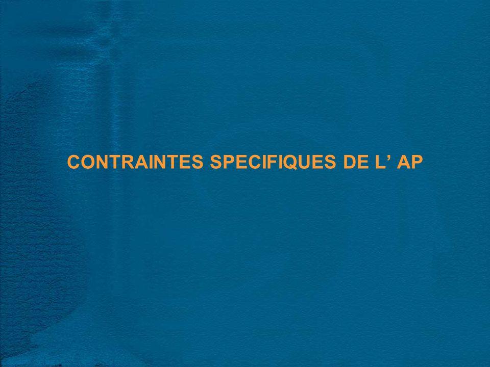 CONTRAINTES SPECIFIQUES DE L AP