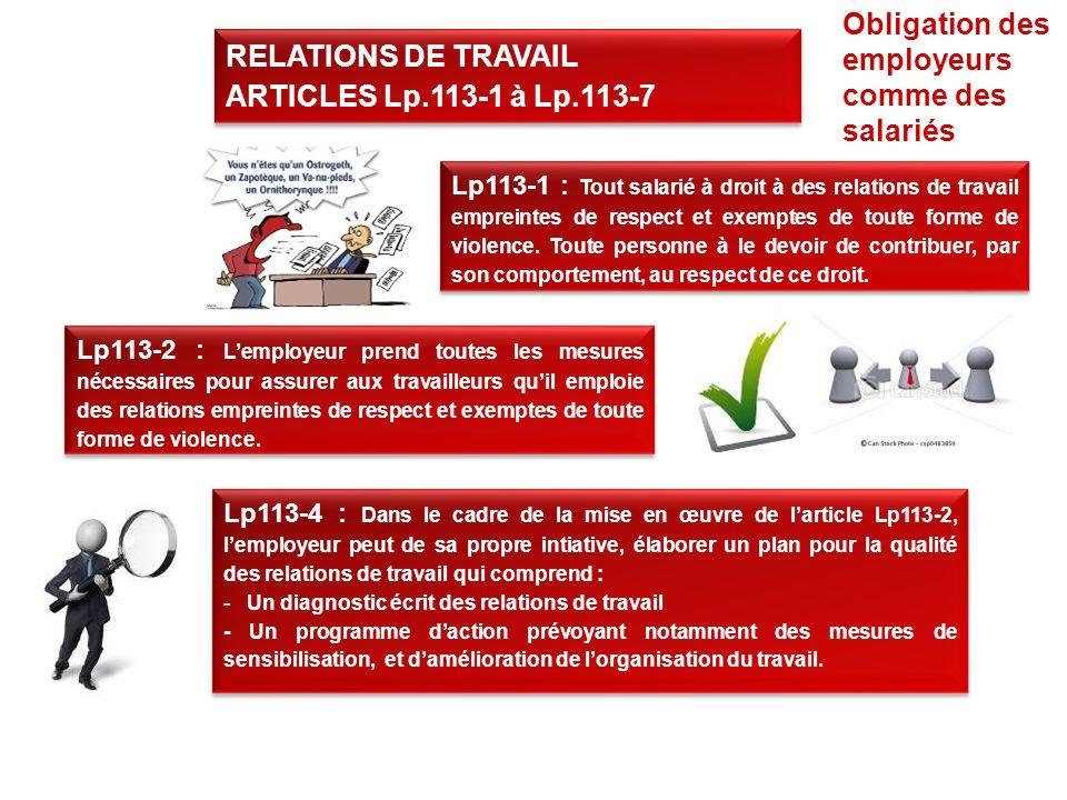 Lp113-1 : Tout salarié à droit à des relations de travail empreintes de respect et exemptes de toute forme de violence.