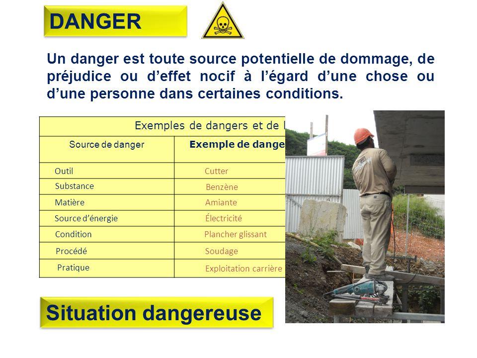 Un danger est toute source potentielle de dommage, de préjudice ou deffet nocif à légard dune chose ou dune personne dans certaines conditions.