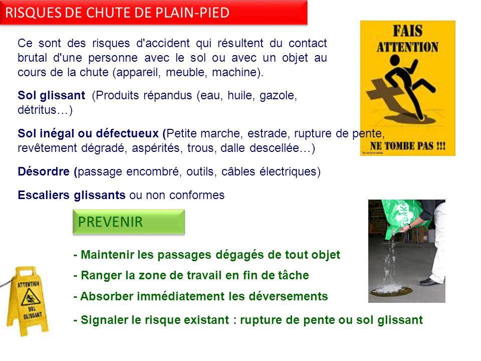 RISQUES DE CHUTE DE PLAIN-PIED Ce sont des risques d accident qui résultent du contact brutal d une personne avec le sol ou avec un objet au cours de la chute (appareil, meuble, machine).