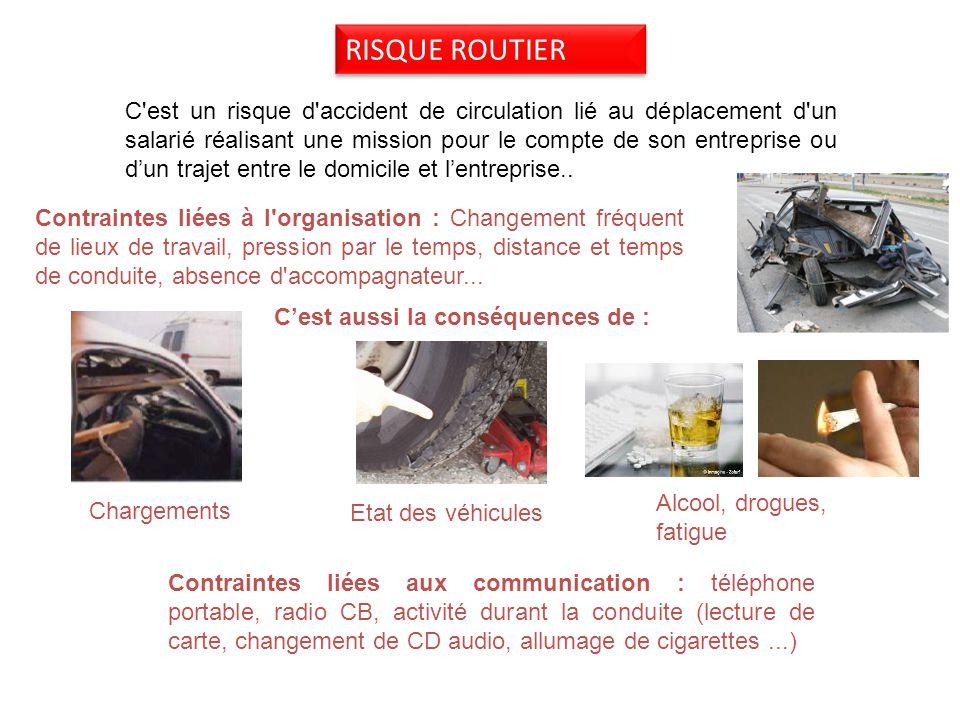 RISQUE ROUTIER C est un risque d accident de circulation lié au déplacement d un salarié réalisant une mission pour le compte de son entreprise ou dun trajet entre le domicile et lentreprise..