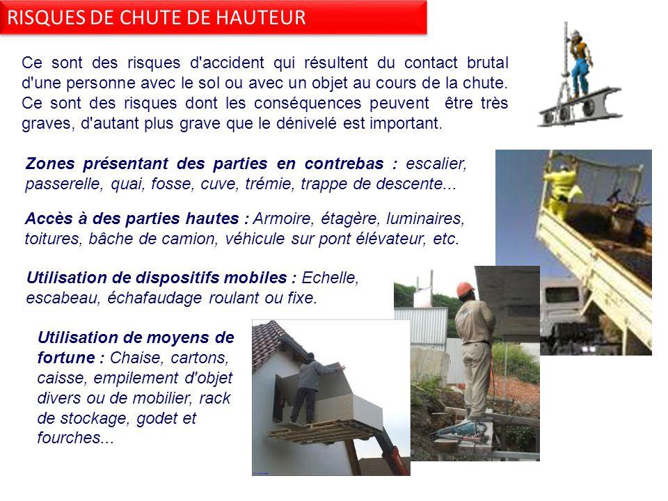 Ce sont des risques d accident qui résultent du contact brutal d une personne avec le sol ou avec un objet au cours de la chute.