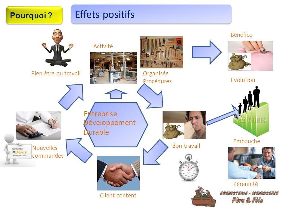5 Organisée Procédures Bien être au travail Bon travail Client content Nouvelles commandes Activité Bénéfice Evolution Embauche Pérennité Effets positifs Entreprise Développement Durable Pourquoi ?