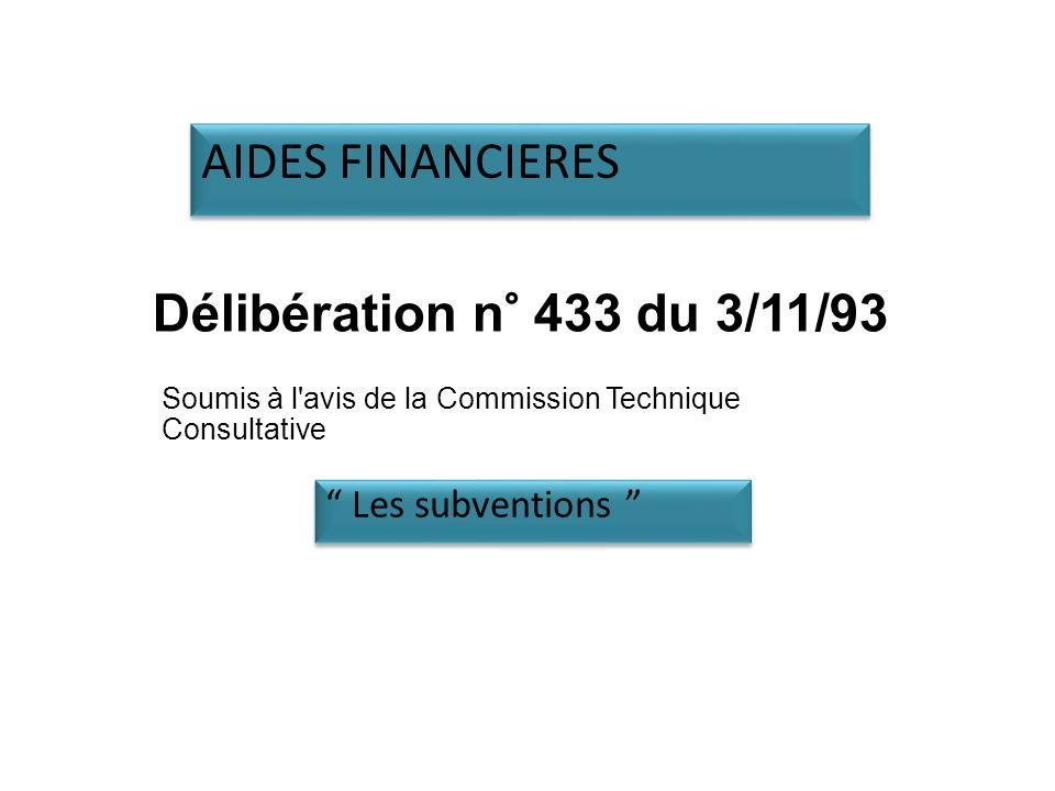 Délibération n° 433 du 3/11/93 Soumis à l avis de la Commission Technique Consultative Les subventions AIDES FINANCIERES