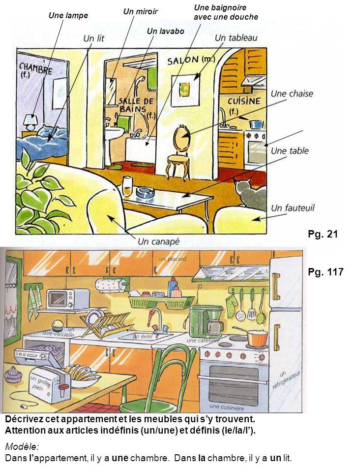 Décrivez cet appartement et les meubles qui sy trouvent. Attention aux articles indéfinis (un/une) et définis (le/la/l). Modèle: Dans lappartement, il