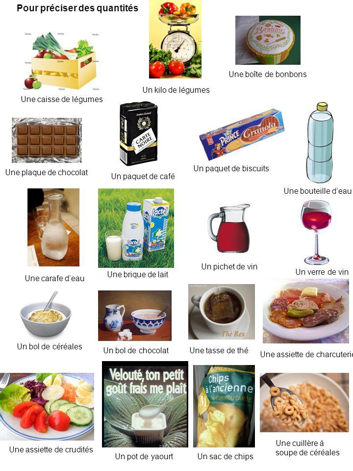 Une caisse de légumes Une boîte de bonbons Une plaque de chocolat Un paquet de café Un paquet de biscuits Une carafe deau Une bouteille deau Une briqu