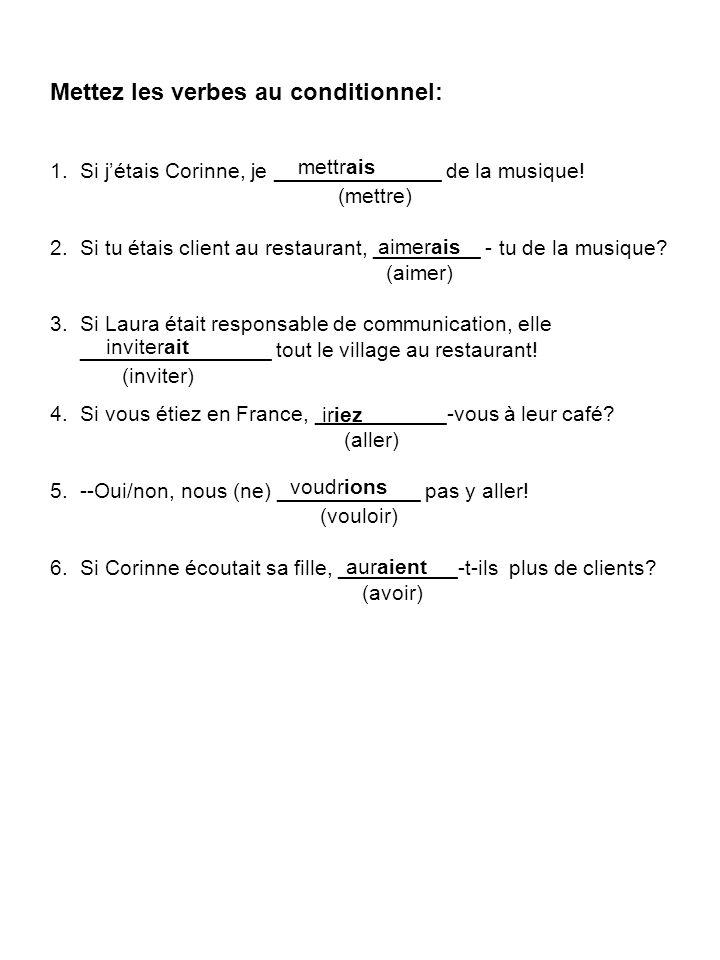Mettez les verbes au conditionnel: 1. Si jétais Corinne, je ______________ de la musique.