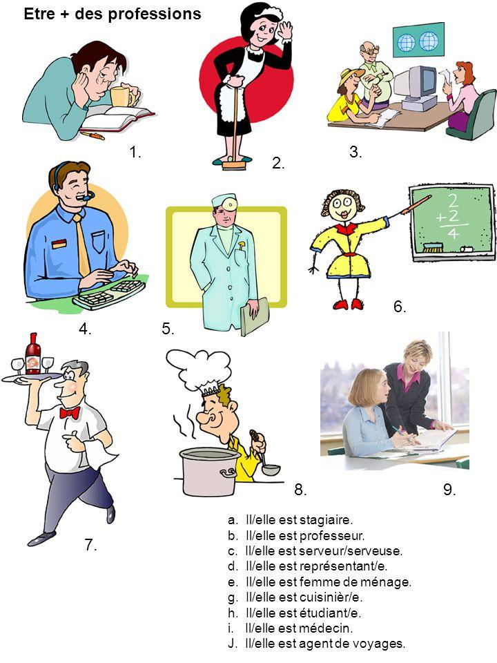 Etre + des professions a. Il/elle est stagiaire. b. Il/elle est professeur. c. Il/elle est serveur/serveuse. d. Il/elle est représentant/e. e. Il/elle