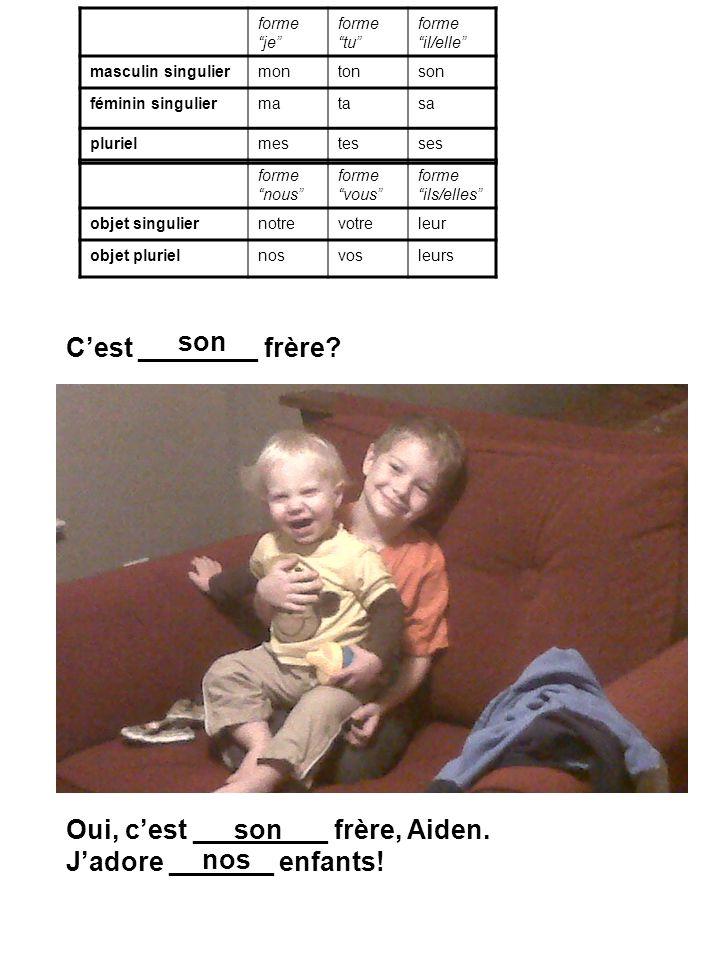 Cest ________ frère.Oui, cest _________ frère, Aiden.