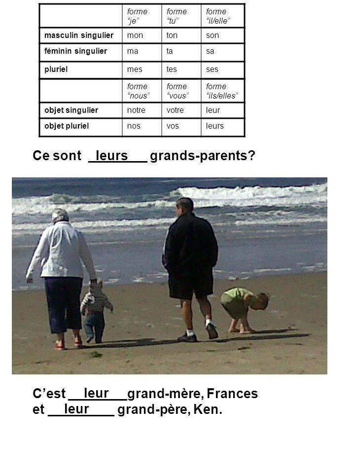 Ce sont ________ grands-parents? Cest ________grand-mère, Frances et _________ grand-père, Ken. leurs leur forme je forme tu forme il/elle masculin si