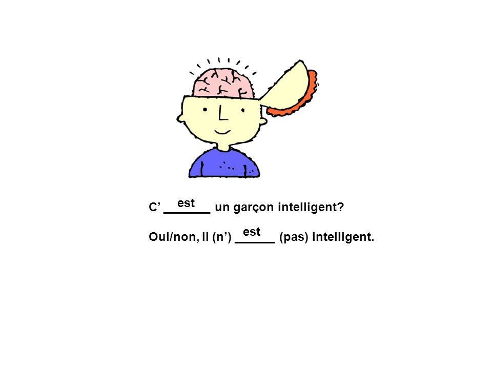 C _______ un garçon intelligent? Oui/non, il (n) ______ (pas) intelligent. est