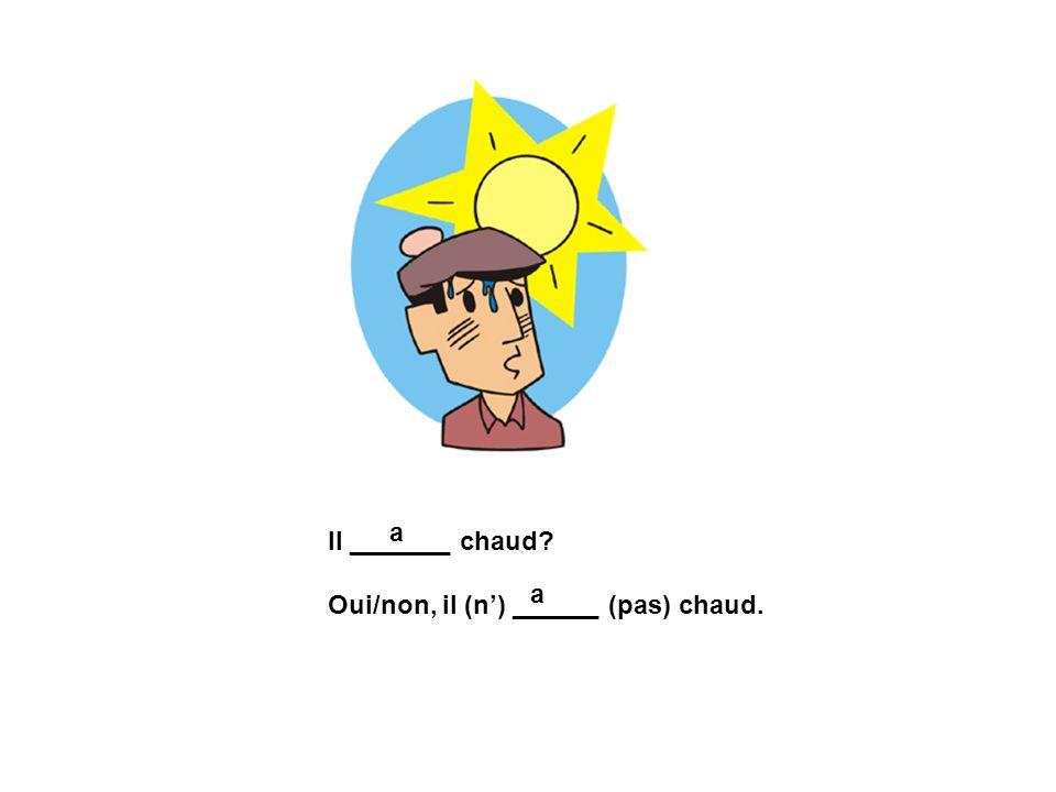 Il _______ chaud? Oui/non, il (n) ______ (pas) chaud. a a