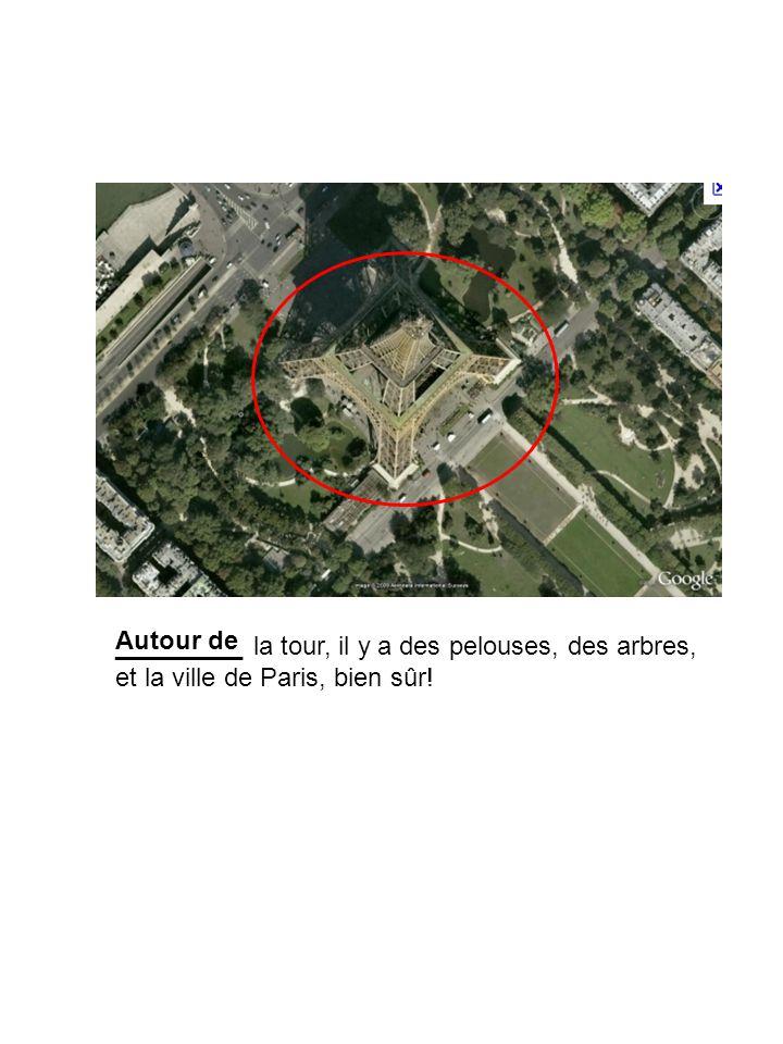 _________ la tour, il y a des pelouses, des arbres, et la ville de Paris, bien sûr! Autour de
