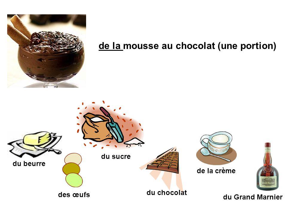 de la mousse au chocolat (une portion) du beurre du sucre des œufs du chocolat de la crème du Grand Marnier