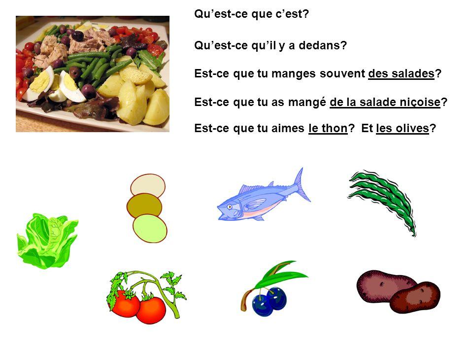 Quest-ce que cest? Quest-ce quil y a dedans? Est-ce que tu manges souvent des salades? Est-ce que tu as mangé de la salade niçoise? Est-ce que tu aime