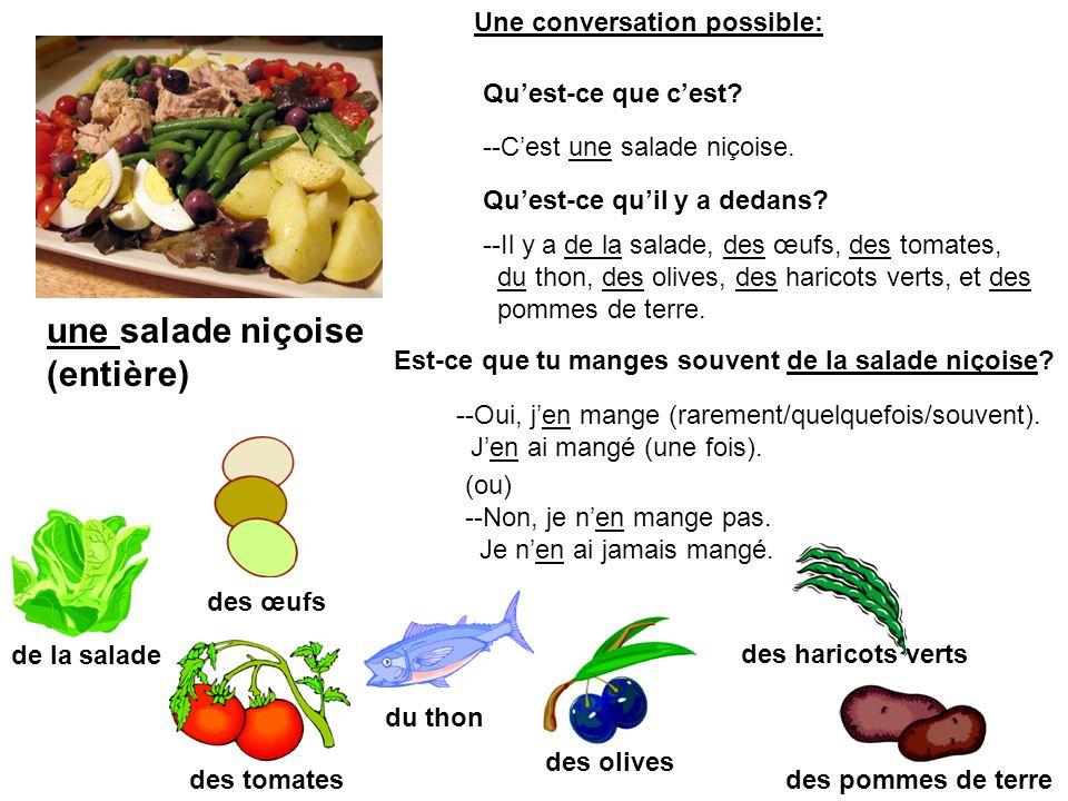 une salade niçoise (entière) de la salade des tomates des œufs des haricots verts des olives des pommes de terre du thon --Cest une salade niçoise. Qu