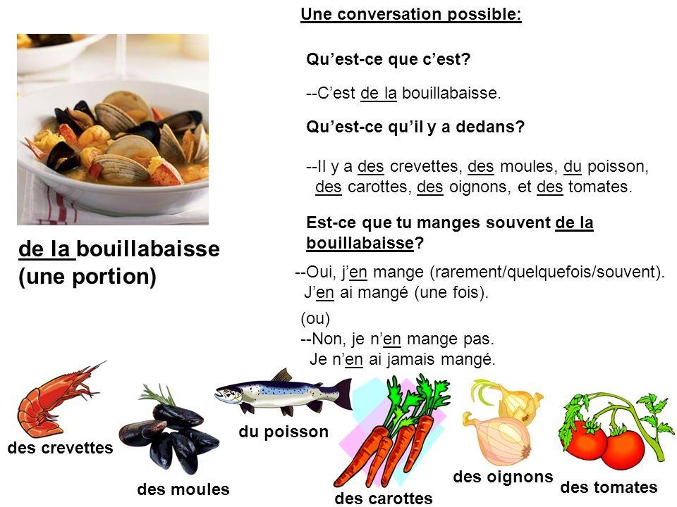 du coq au vin (une portion) du poulet des champignons du vin rouge du bacon des oignons du bouillon (de poulet) --Cest du coq au vin.